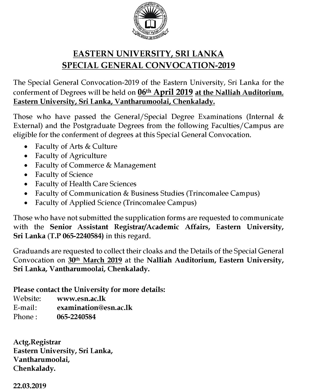Convocation media advertisement english 2019