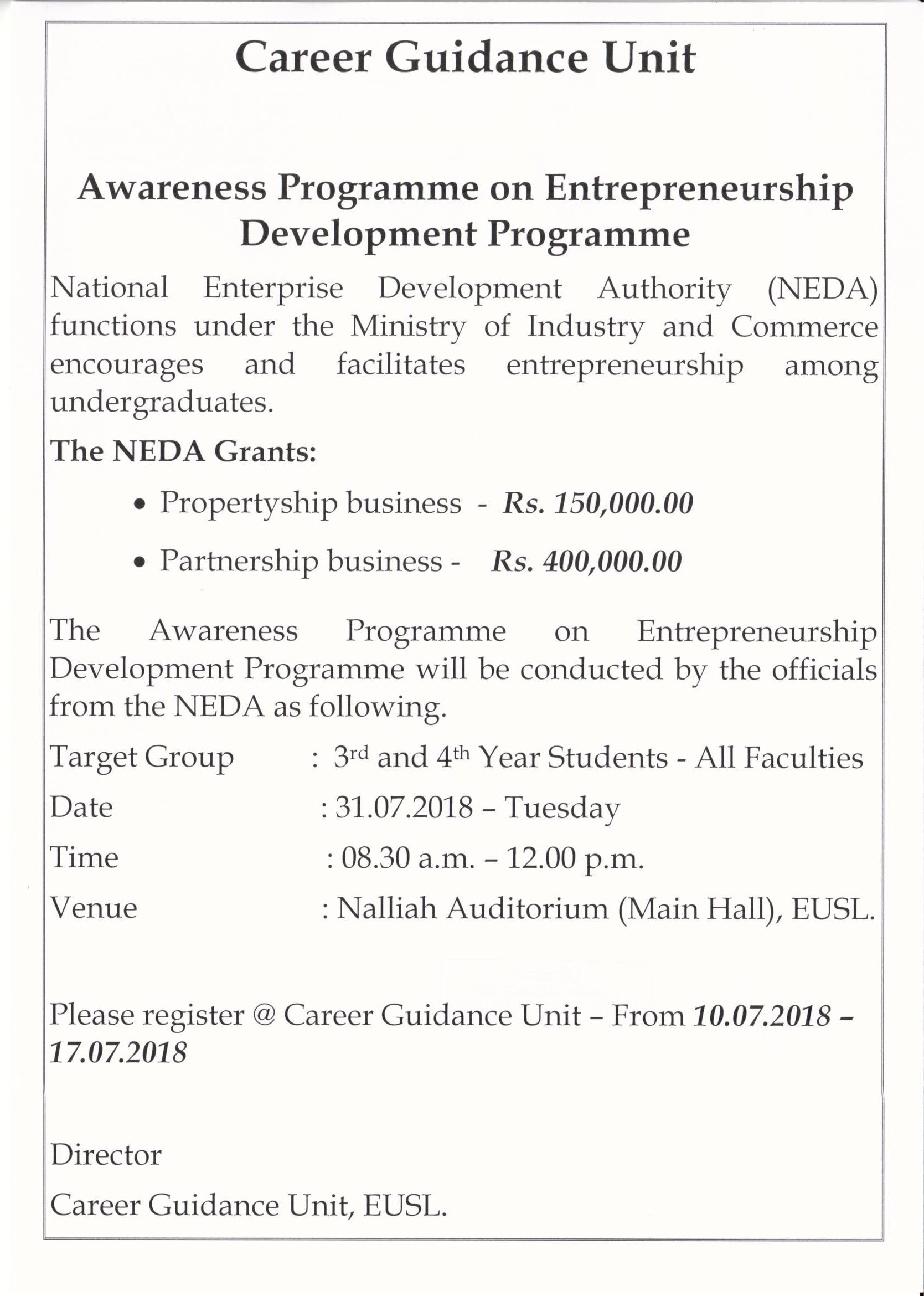 11072018 Awareness Programme on Entrepreneurship Development Programme